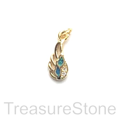 Pave Charm, 6x13mm gold angel wing, Cubic Zirconia, ea