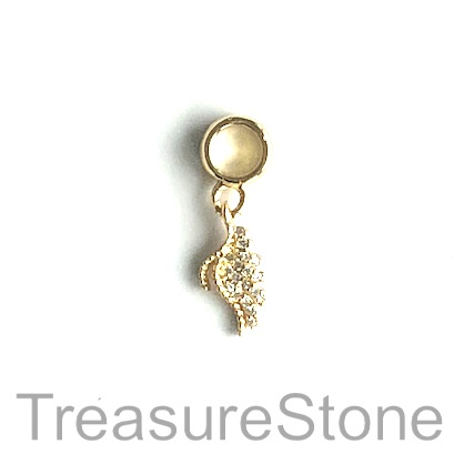 Charm, brass, gold, 7x14mm wing, Cubic Zirconia. Each