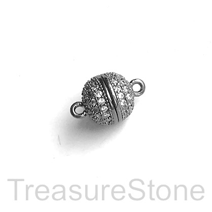 Micro Pave Clasp, magnetic, brass, black, clear CZ, 9mm. Ea