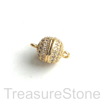 Micro Pave Clasp, magnetic, brass, gold, clear CZ, 9mm. Ea