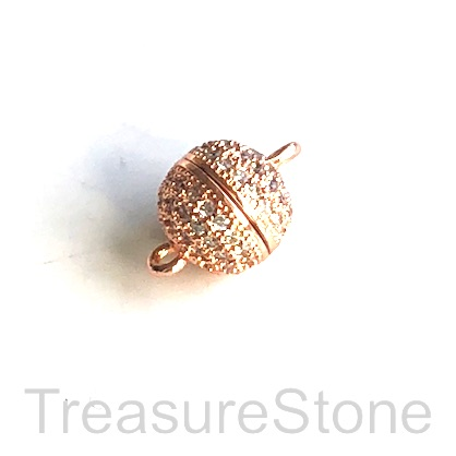 Micro Pave Clasp, magnetic, brass, rose gold, clear CZ, 9mm. Ea