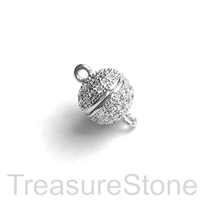 Micro Pave Clasp, magnetic, brass, silver, clear CZ, 9mm. Ea