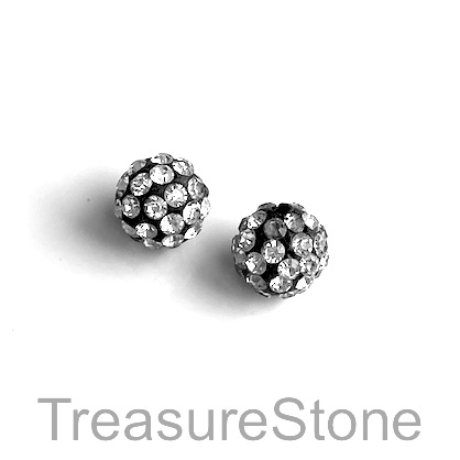 Clay Pave Bead, 10mm black with white crystals. Pack of 3.