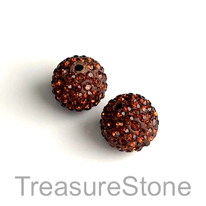 Clay Pave Bead, 10mm brown with crystals. Each
