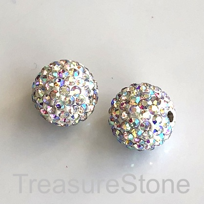 Clay Pave Bead, 12mm white with clear AB crystals. Each