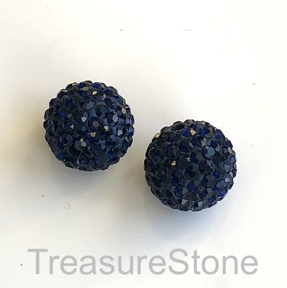 Clay Pave Bead, 8mm dark blue with crystals. Each