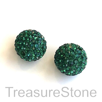 Clay Pave Bead, 10mm emerald with crystals. Each