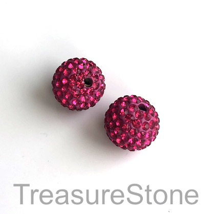 Clay Pave Bead, 10mm fusha with crystals. Each