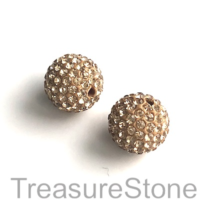 Clay Pave Bead, 10mm gold with crystals. Each