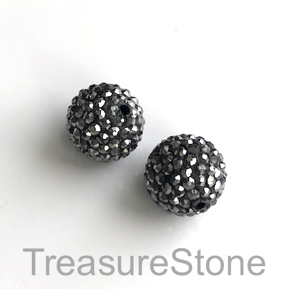 Clay Pave Bead, 10mm grey with hematite crystals. Each