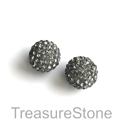 Clay Pave Bead, 10mm grey with clear crystals. Each