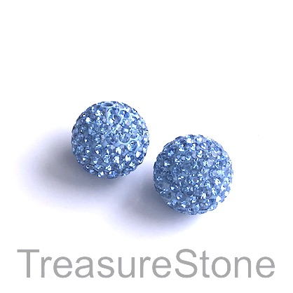 Clay Pave Bead, 10mm light blue with crystals. Each