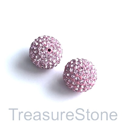 Clay Pave Bead, 8mm light pink with crystals. Each