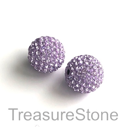 Clay Pave Bead, 10mm light purple with crystals. Each