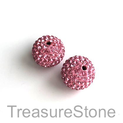 Clay Pave Bead, 10mm pink with crystals. Each