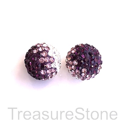 Clay Pave Bead, 12mm with clear, purple crystals. Each