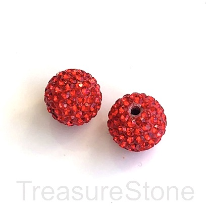 Clay Pave Bead, 12mm red with crystals. Each