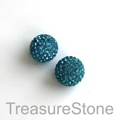 Clay Pave Bead, 12mm tilt green with crystals. Each