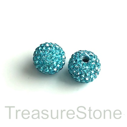 Clay Pave Bead, 6mm turquoise with crystals. pack of 2.