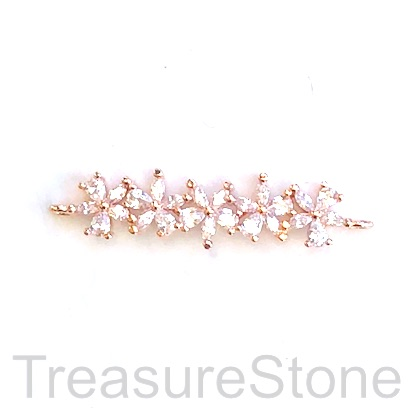 Pave Charm, pendant, connector, 30mm rose gold flowers, CZ. Ea