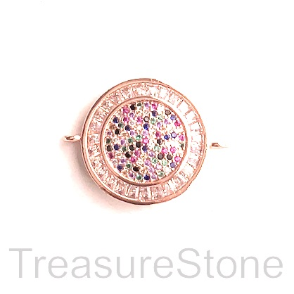 Charm, connector, pendant, 22mm rose gold, each