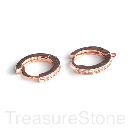 Pave Earring, rose gold-plated brass, CZ, 14mm round hoop.1 pair