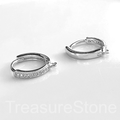 Pave Earring, silver-plated brass, CZ, 14mm round hoop. 1 pair