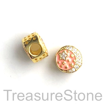 Pave Bead, 12x6mm gold, enamel, moon, star, large hole, 4mm. Ea