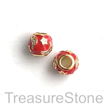 Bead,10x9mm gold,pave,red enamel, moon,star, large hole, 4mm. Ea