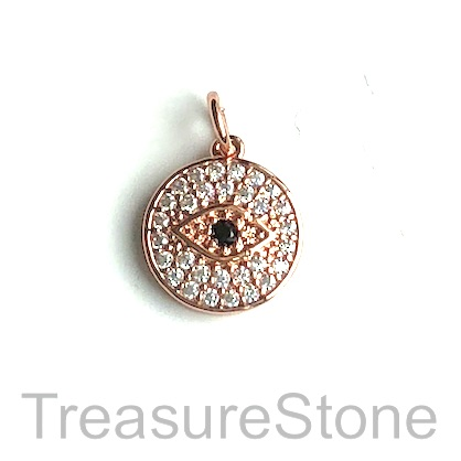 Charm, brass, 12mm rose gold evil eye, Cubic Zirconia. Each