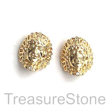 Pave Bead, gold,13x15mm,American Indian Head, Cubic Zirconia. Ea