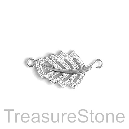 Charm, connector, pendant, 14x20mm silver filigree leaf, ea