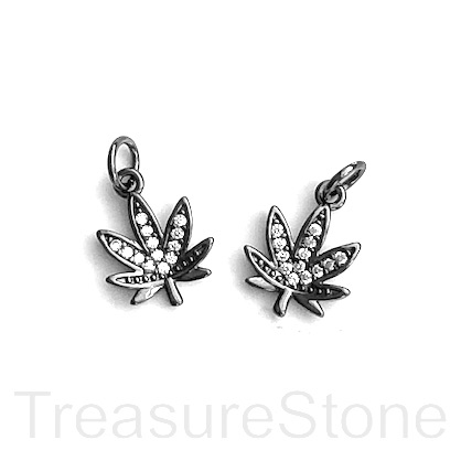 Charm, brass, 11mm black, Marijuana Leaf, CZ. Ea