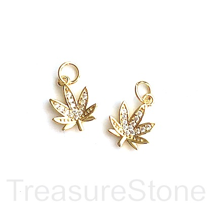 Charm, brass, 11mm gold, Marijuana Leaf, CZ. Ea
