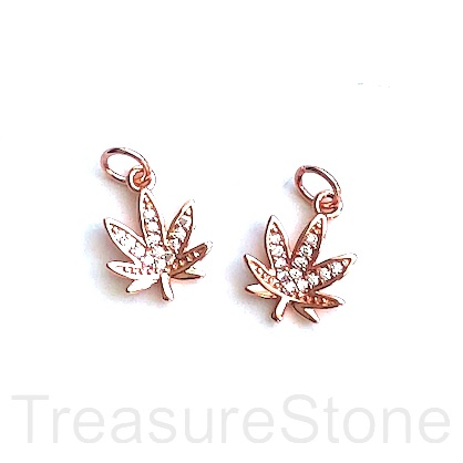 Charm, brass, 11mm rose gold, Marijuana Leaf, CZ. Ea