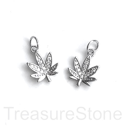 Charm, brass, 11mm silver, Marijuana Leaf, CZ. Ea