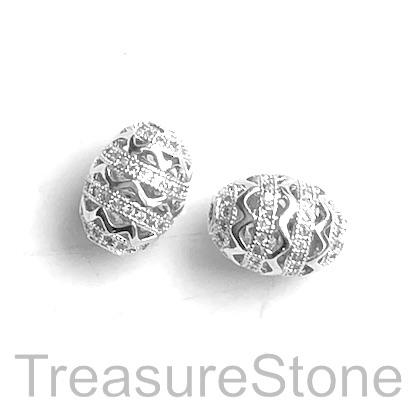 Pave Bead, brass, 10x13mm silver oval with clear crystals. Each