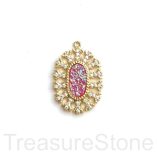 Pave Pendant, brass, gold, 20x27mm pink AB druzy. Ea