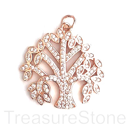 Pave Pendant, rose gold, 27mm Tree of Life, Cubic Zirconia. ea