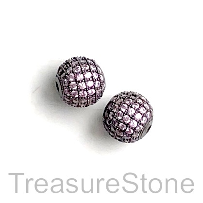 Pave Bead, brass, 10mm black round with pink crystals 4. Each