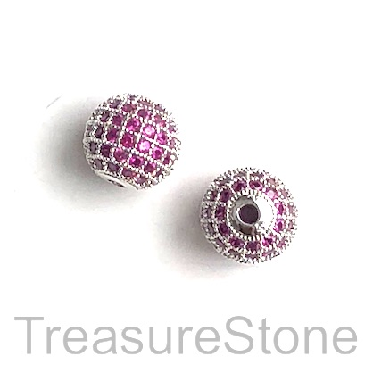 Pave Bead, brass, 10mm silver round with ruby crystals 4. Each
