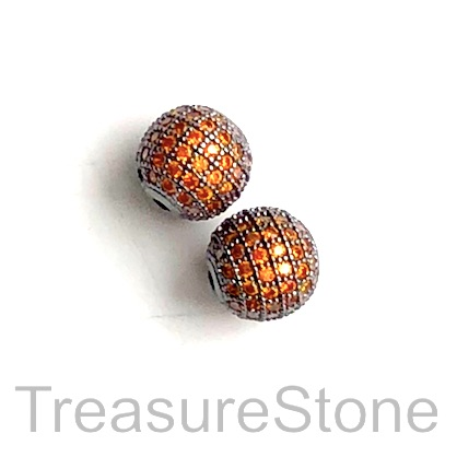 Pave Bead, brass, 10mm black round with orange crystals. Each