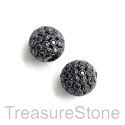 Pave Bead, brass, 10mm black round 3 with black crystals. Each