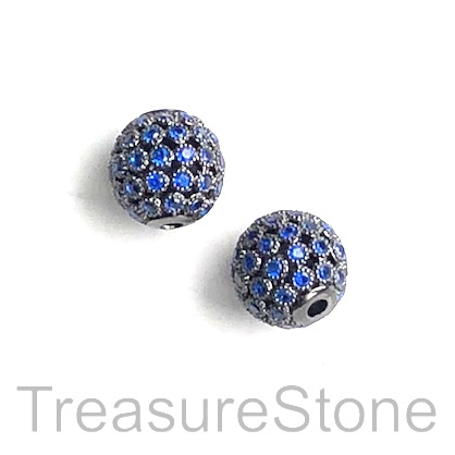 Pave Bead, brass, 10mm black round with sapphire crystals. Each