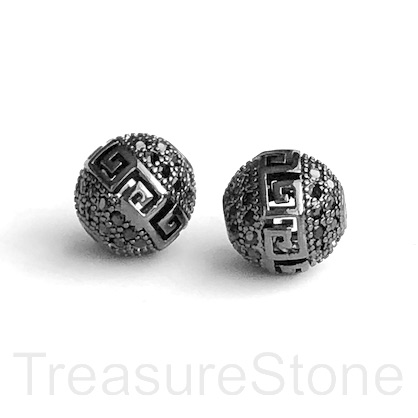 Pave Bead, brass, 10mm black round, black CZ. Ea