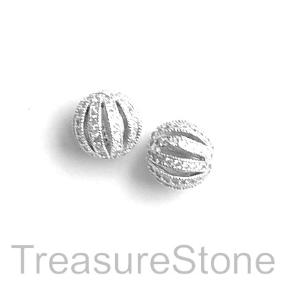 pave Bead, brass, 10mm silver round with clear crystals. Each