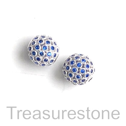 Pave Bead, brass, 10mm silver round with sapphire crystals. Each