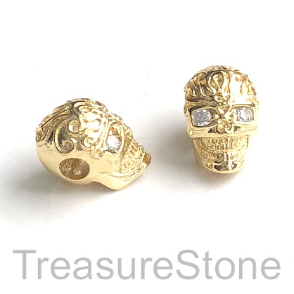 Pave Bead, brass, 9x13mm skull 5 gold, Cubic Zirconia. Each