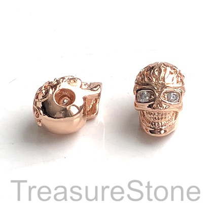 Pave Bead, brass, 9x13mm skull 5 rose gold, Cubic Zirconia. Each