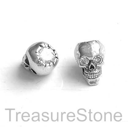 Pave Bead, brass, silver, 8x12mm skull 3. Ea